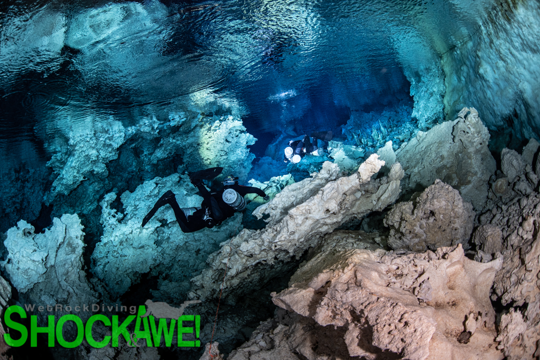 Sidemount divers in indonesian cave